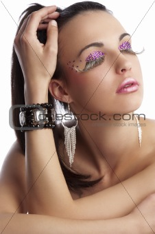 beauty shot with creative eyelashes