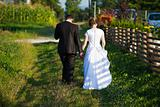 Young married couple walking