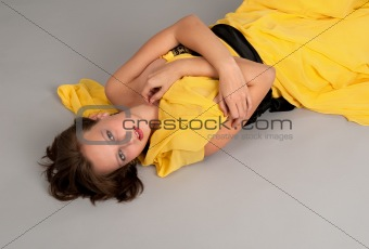 a girl lying on the floor