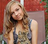 stunning teenage girl with cat