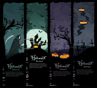 Vector Set of four grunge Halloween banners. Standard size. Grim reaper, haunted castle, spooky pumpkins and scary ghosts on the graveyard.