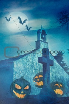 Vector Halloween grunge illustration with scary pumpkins