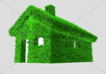 3D illustration of a green house with grass