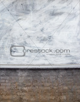 old store dirty grunge wall with window painted white
