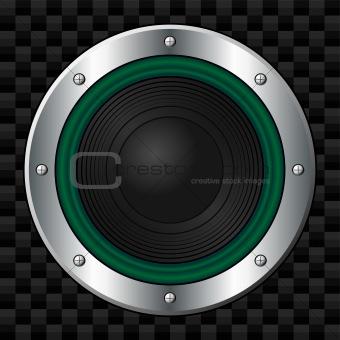 Green speaker over carbon