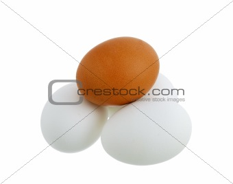 Four different colors eggs pyramid