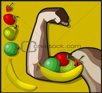 A healthy arm and a pack of vegetables and fruits