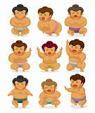 cartoon Sumo wrestler icons