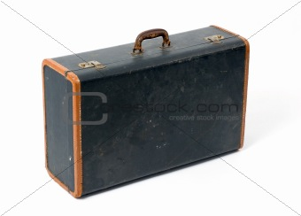 old suitcase on a white background