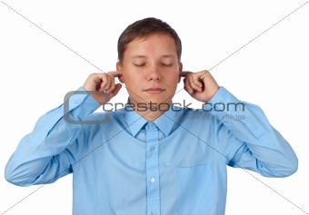 young business man in the Hear no evil pose