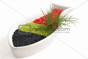 caviar in a bowl-shaped over