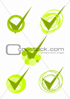 Green accepted symbols - vector