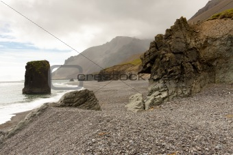 Beauty, rocky coastline - Hvalnes area - Iceland