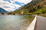Route on coast in Kotor bay - Montenegro