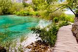 Wooden path in Plitvicka lake - Croatia