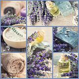 Healthy spa collage with lavender