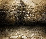 Old rough dark brick wall background texture.
