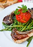 porterhouse juicy steak with fresh green beans