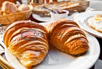 fresh croissan on table ,Delicious