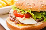 cheese burger with fresh salad