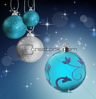 Colorful christmas bauble balls with star background
