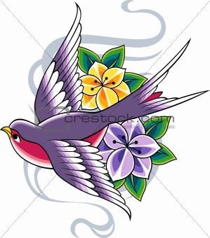 classic bird tattoo