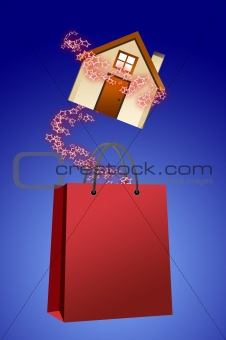 House with shopping bag