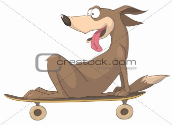 Cartoons_0099_Dog_Skateboard_Vector_