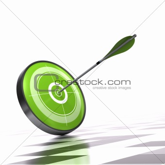 Green target and arrow