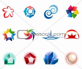 12 different colorful symbols: (set 1)