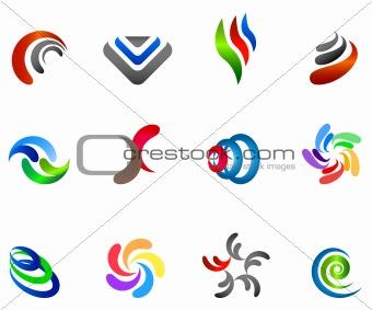 12 different colorful  symbols: (set 5)