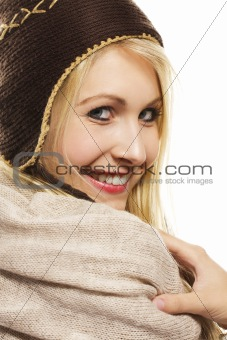 beautiful happy blonde woman wearing winter dress