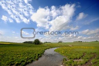 Small river and framland