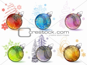 Different Christmas balls with  snowflakes