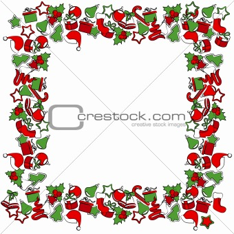 Christmas frame with traditional Christmas symbols