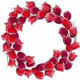 Floral wreath with stylized red tulips