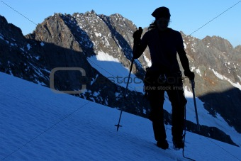 Glacier trekking silhouette