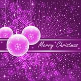 Pink xmas balls on purple