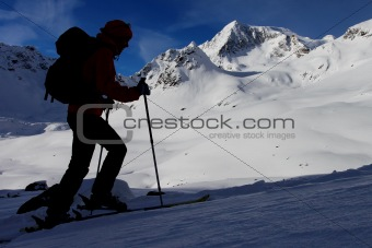 Mountain ski ascent