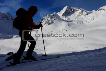 Mountain ski ascent