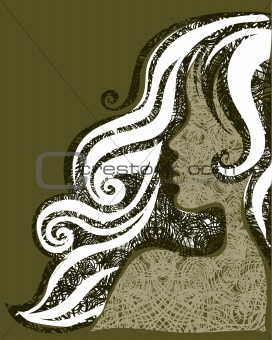 Vector grunge illustration of a girl with beautiful hair