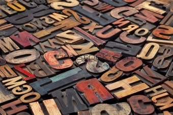 antique letterpress printing blocks