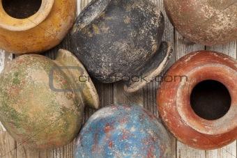 grunge clay pots