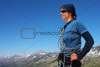 Young woman mountain climber