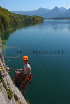 Rock climbing in Austrian Alps