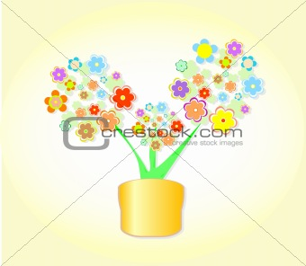 Abstract Flower In Pot, cute Flowerpot Background vector