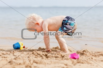 toddler at a beach