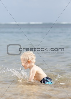 splashing toddler