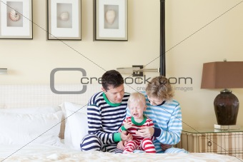 family with crying toddler