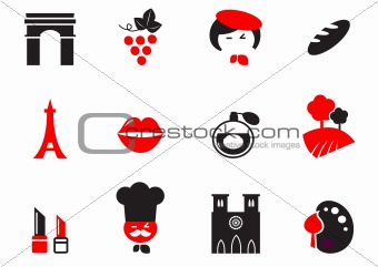 Retro Paris Culture, French Culture & Cuisine  icons set - red,